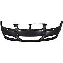 Front Bumper Cover, Primed, Sedan/Wagon - w/ Park Distance Control & Head Lamp Washer Holes, w/ Fog Light Holes