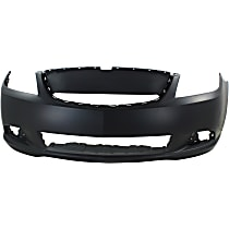 Front Bumper Cover, Primed, Sedan - w/ Fog Light Holes, w/o Parking Aid Sensor Holes