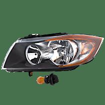 Sedan(E90)/Wagon(E91), Driver Side Halogen Headlight, With bulb(s)