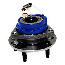 Front, Driver or Passenger Side Wheel Hub and Bearing Assembly, For FWD Models with 4-Wheel ABS and Steel Wire Clip - Bearing Flange Mounting Holes Threaded