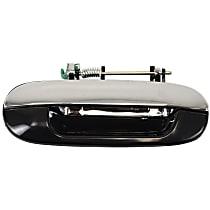 Rear, Passenger Side Exterior Door Handle, Chrome Lever with Smooth Black Bezel