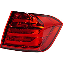 Passenger Side, Outer Tail Light, Without bulb(s) - Red Lens, Sedan, CAPA CERTIFIED