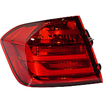 Driver Side, Outer Tail Light, Without bulb(s) - Red Lens, Sedan, CAPA CERTIFIED