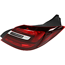 Passenger Side, Outer Tail Light, With bulb(s) - Clear & Red Lens, w/o Chrome Trim