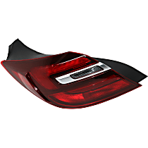 Driver Side, Outer Tail Light, With bulb(s) - Clear & Red Lens, w/o Chrome Trim