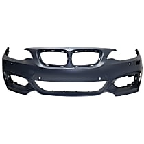 Front Bumper Cover, Primed, Coupe/Convertible - w/ Headlight Washer & Parking Sensor Aid Holes, w/ M Sport Line