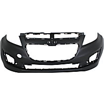 Front Bumper Cover, Primed - 2013-2015 Chevrolet Spark - With Fog Light Holes, Without Parking Aid Sensor Holes