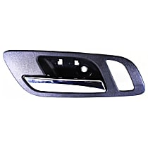 Interior Door Handle - Front, Driver Side, Black Bezel with Chrome Lever, with Big Hole for Power Window Switch