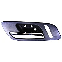 Front, Driver Side Interior Door Handle, Black bezel with chrome lever