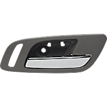 Front, Passenger Side Interior Door Handle, Gray bezel with chrome lever