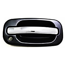 Front, Passenger Side Exterior Door Handle, Smooth Black Bezel with Chrome Lever