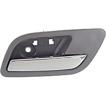 Rear, Passenger Side Interior Door Handle, Gray bezel with chrome lever
