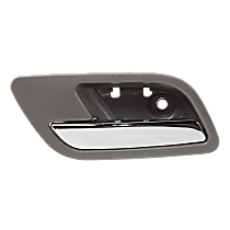 Interior Door Handle - Rear, Driver Side, Gray Bezel with Chrome Lever