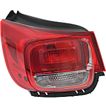 Driver Side, Outer Tail Light, With bulb(s) - Clear & Red Lens, w/ Wiring Harness, Eco/LS/LT Models