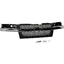 Grille Assembly - Textured Dark Gray Shell and Insert, with Chrome Center Bar