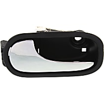Interior Door Handle - Front, Driver Side, Black Bezel with Chrome Lever