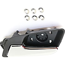 Front or Rear, Driver Side Interior Door Handle, Chrome Lever with Textured Black Bezel