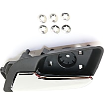 Front or Rear, Driver Side Interior Door Handle, Textured Black Bezel with Chrome Lever