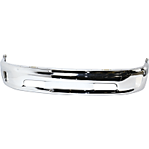 Bumper - Front, Chrome, 2-Piece Type, with Fog Light Holes and without Parking Sensor Holes