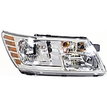 Passenger Side Headlight, With bulb(s) - Clear Lens, Chrome Interior, CAPA CERTIFIED
