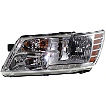 Driver Side Headlight, With bulb(s) - Clear Lens, Chrome Interior, CAPA CERTIFIED