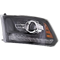 Driver Side Halogen Headlight, With bulb(s) - Projector Models With Chrome Bezel/Black Interior