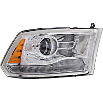 Passenger Side Halogen Headlight, With bulb(s) - Projector Clear Lens, Chrome Interior