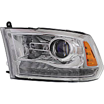 Driver Side Halogen Headlight, With bulb(s) - Projector Clear Lens, Chrome Interior