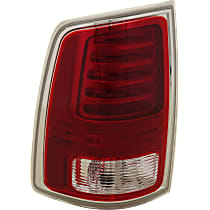 Driver Side Tail Light, With bulb(s) - Fits Models With Laramie Trim, Clear & Red Lens; Chrome Interior