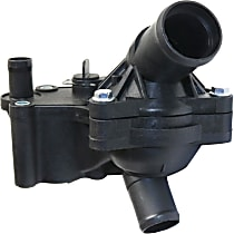 Replacement Thermostat Housing - Black, Plastic, Direct Fit, Upper and lower assembly, Sold Individually