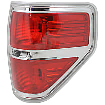 Passenger Side Tail Light, Without bulb(s) - 2009-2014 Ford F-150, w/ Styleside Bed, Except FX2 Model, Chrome Bezel Trim