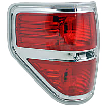 Driver Side Tail Light, Without bulb(s) - 2009-2014 Ford F-150, w/ Styleside Bed, Except FX2 Model, Chrome Bezel Trim, CAPA CERTIFIED