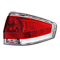 Passenger Side Tail Light, With bulb(s) - Clear & Red Lens, w/ Chrome Insert, Sedan