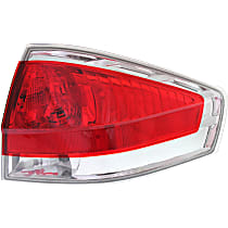 Passenger Side Tail Light, With bulb(s) - Clear & Red Lens, w/ Chrome Insert, Sedan, CAPA CERTIFIED