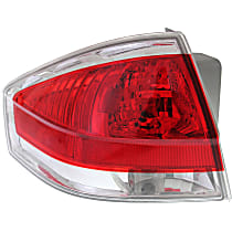 Driver Side Tail Light, With bulb(s) - Clear & Red Lens, w/ Chrome Insert, Sedan