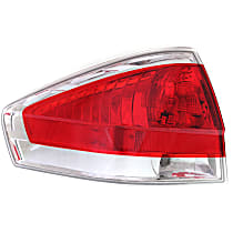 Driver Side Tail Light, With bulb(s) - Clear & Red Lens, w/ Chrome Insert, Sedan, CAPA CERTIFIED