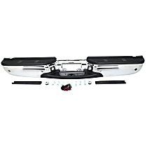 Chrome Step Bumper Assembly; w/ Parking Aid Sensor Holes, Models w/ Fleetside/Styleside Bed, Regular Cab/ SuperCab
