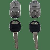 Door Lock Cylinder - Chrome, Direct Fit, Set of 2