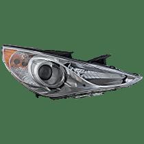 Passenger Side Halogen Headlight, With bulb(s) - Except Hybrid Model, Clear Lens, Chrome Interior