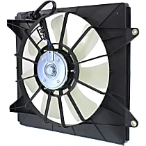 OE Replacement A/C Condenser Fan Shroud Assembly - 7 Fan Blades, Denso Type, Passenger Side, 4 Cyl. Engine Models
