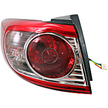 Driver Side, Outer Tail Light, With bulb(s) - Clear & Red Lens