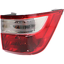 Passenger Side, Outer Tail Light, With bulb(s) - Clear & Red Lens, CAPA CERTIFIED