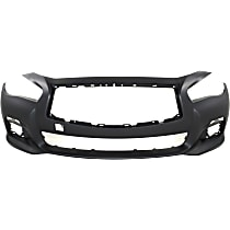 Front Bumper Cover, Primed, Sedan - Exc. Sport Model, Without Parking Aid Sensor Holes