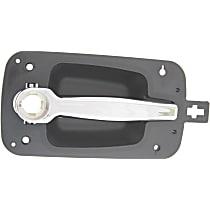 Front, Passenger Side Exterior Door Handle, Black bezel with chrome lever