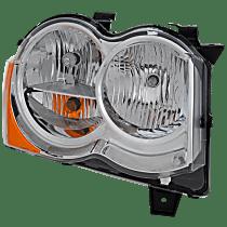 Headlight - Passenger Side, Halogen, Chrome Trim, With Bulb(s), CAPA Certified
