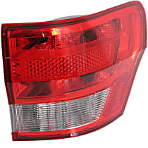 Passenger Side, Outer Tail Light, With bulb(s) - Clear & Red Lens