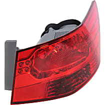 Passenger Side, Outer Tail Light, With bulb(s) - Clear & Red Lens, Sedan