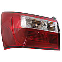 Driver Side, Outer Tail Light, With bulb(s) - Clear & Red Lens, Sedan, CAPA CERTIFIED