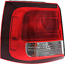 Driver Side, Outer Tail Light, With bulb(s) - Clear & Red Lens, CAPA CERTIFIED