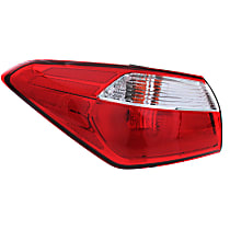 Driver Side, Outer Tail Light, With bulb(s) - Clear & Red Lens, Standard Type, Sedan